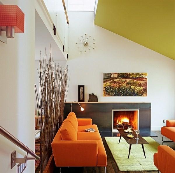 salon cheminee canape orange
