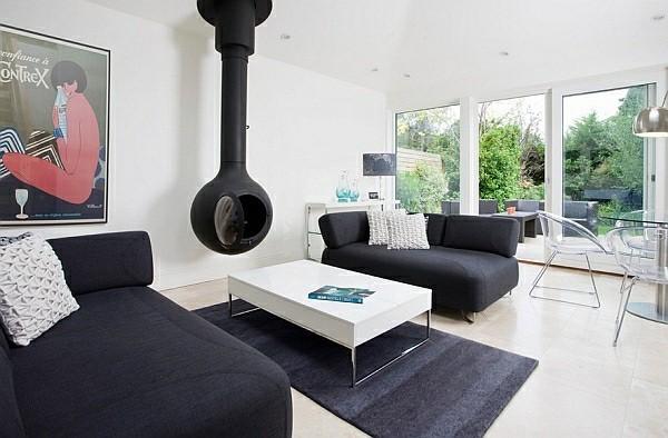 salon cheminee noir blanc