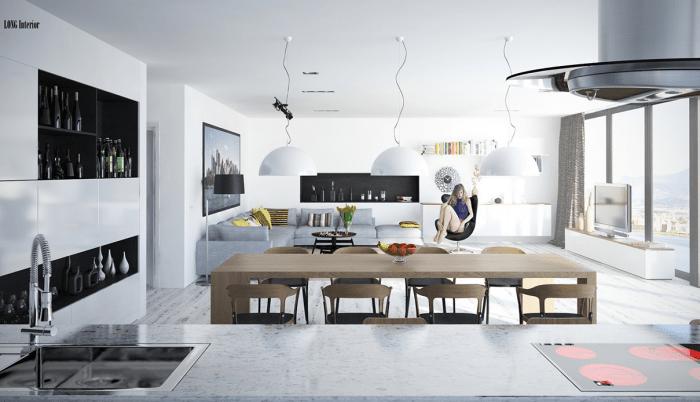 intérieur contemporain salon espace ouvert cuisine table en bois chaises en bois robinet rangements cuisine