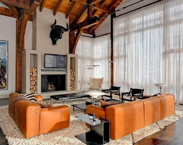 salon de style moderne et rustique meuble cuir roux