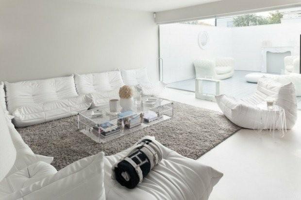 salon deco blanc tapis beige