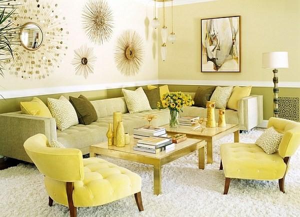 salon deco vert jaune