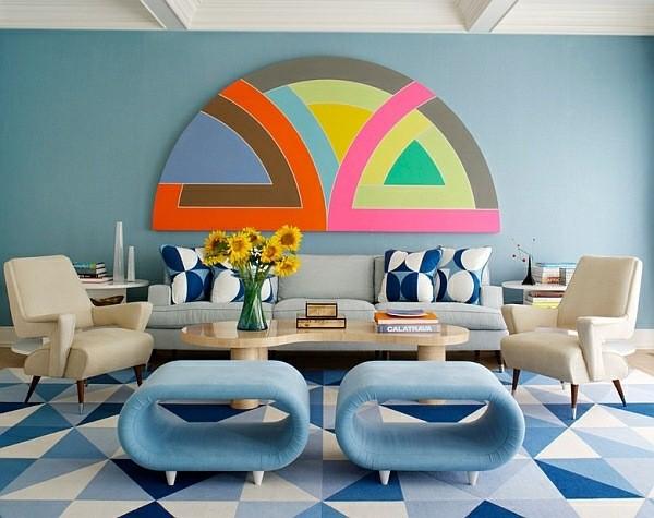 salon design retro couleurs vives