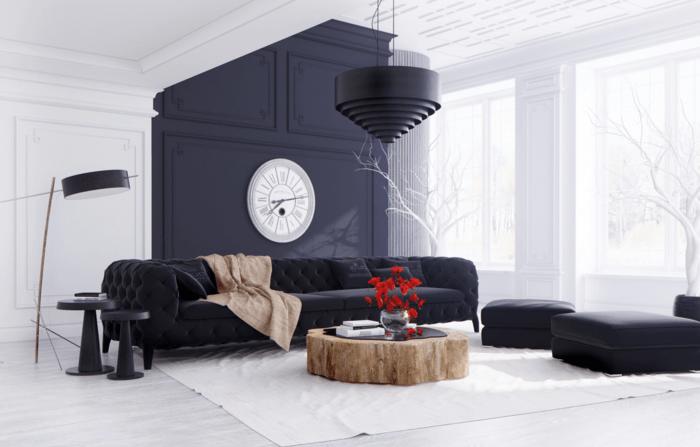 noir blanc salon table en bois canapé noir poufs noires lampe design noir horloge