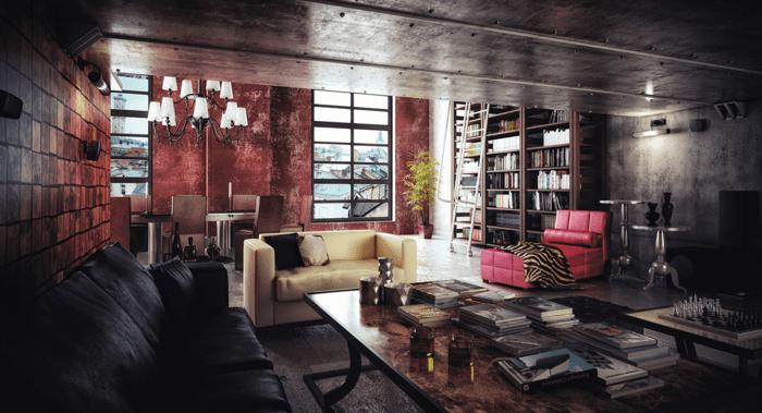intérieur en style industriel canapé noir canapé blanc canapé rose murs rouges plafond en métal