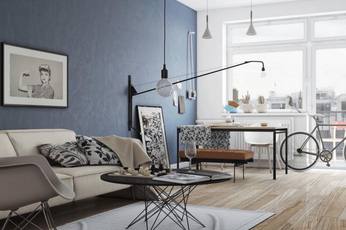 salon moderne en style hipster chambre hipster photo idée déco salon moderne vélo lampe chaise table echecs taboureut pouf