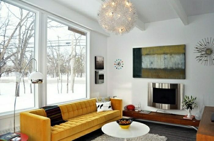 canapé jaune salon design moderne table basse tableau lampe suspendu
