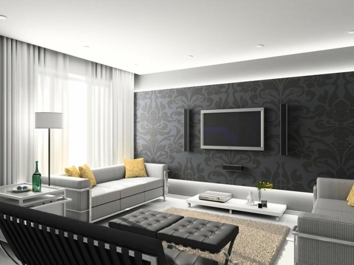 salon intérieur moderne canapé cuir gris pouf noir table blanche