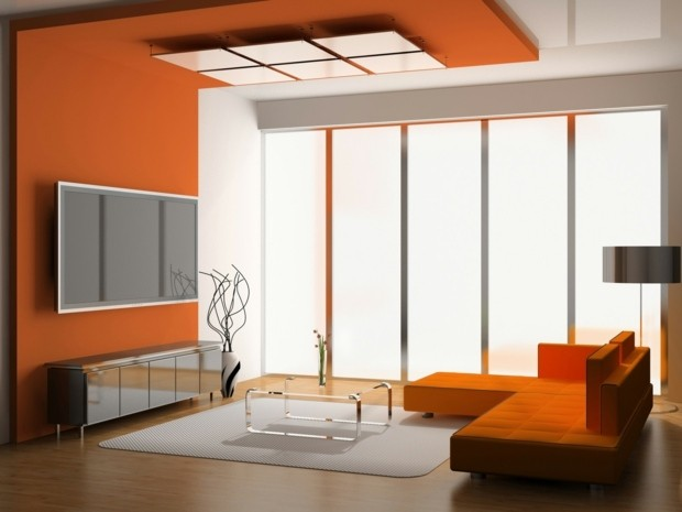 salon moderne couleur orange