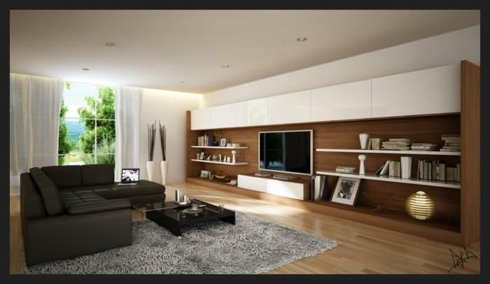 tapis de sol salon gris canapé d'angle cuir télé placard lampe rideaux plante