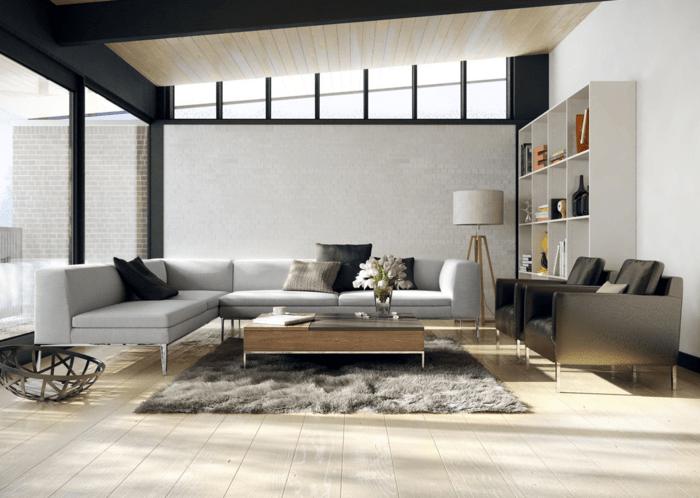 salon moderne gris noir blanc déco minimaliste canapé en cuir table en bois
