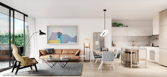 design moderne canapé cuir tableau lampe suspendue design chaise et table à manger idée déco salon