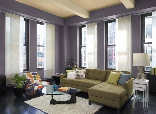 salon spacieux peinture moderne