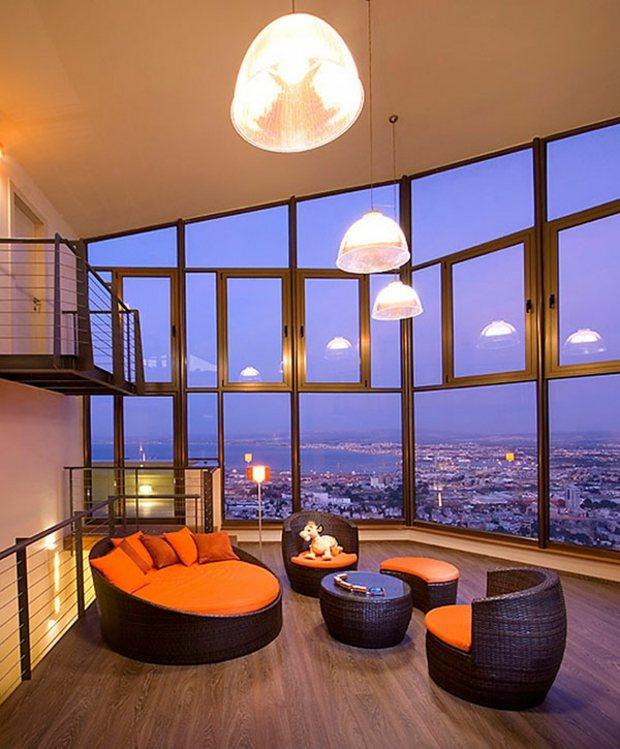 salon ultra-contemporain mobilier rotin vue epoustouflante