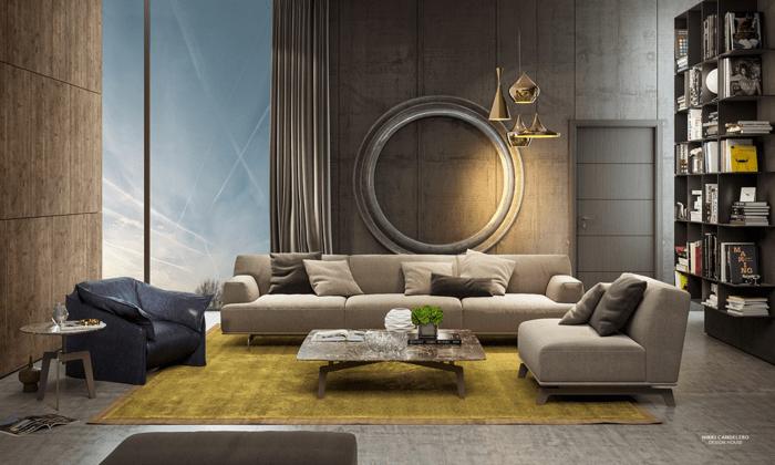 intérieur urbain sombre stylé idée déco salon canapé beige canapé cuir noir tapis jaune bibliothèque table basse
