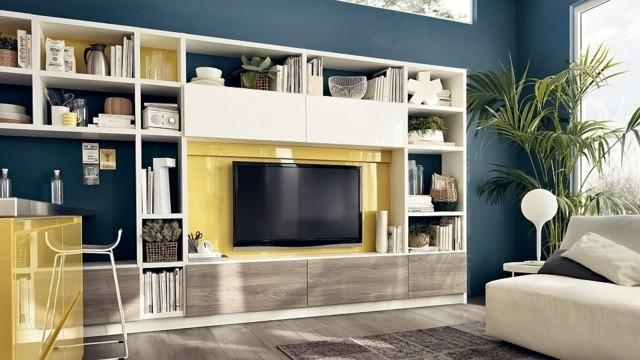 unité polyvalente modulable Motus TV finition bois jaune