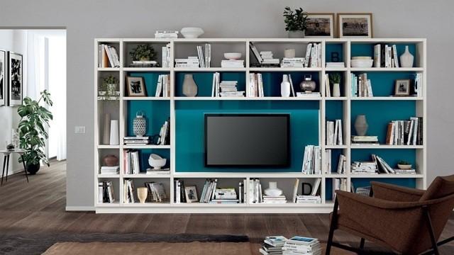 meuble salon modulabe TV turquoise