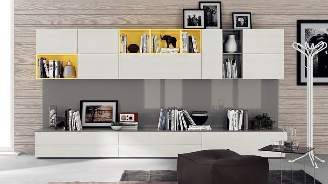 unité polyvalente séjour meuble niches jaunes
