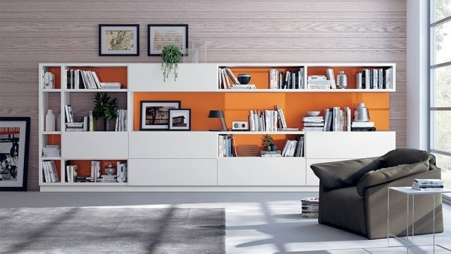 meuble salon modulabe blanc orange