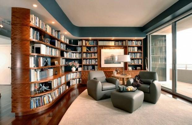 bibliothèque élégante en bois- arrondi