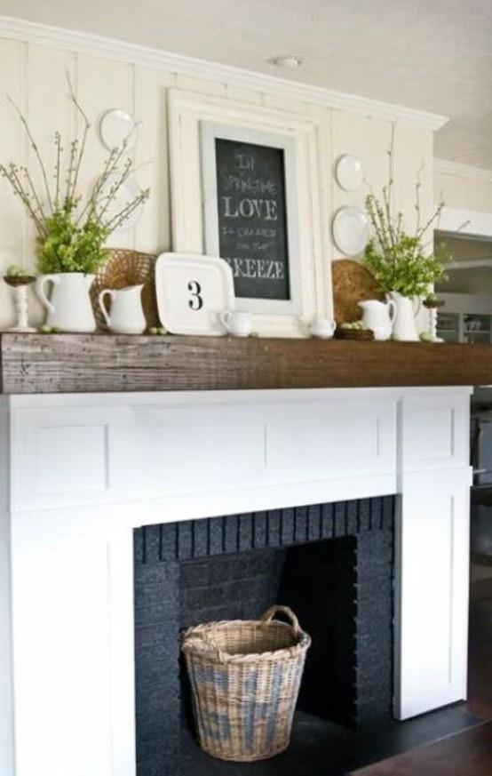 cheminée salon idée déco moderne florale bois rustique intérieur contemporain et confortable