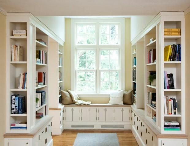 espace détente avec coin lecture sous la fenêtre