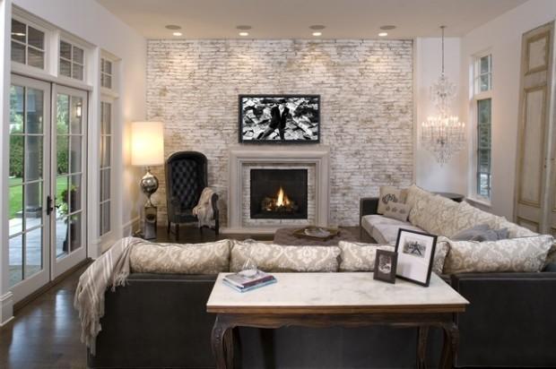 idee deco salon briques cheminee