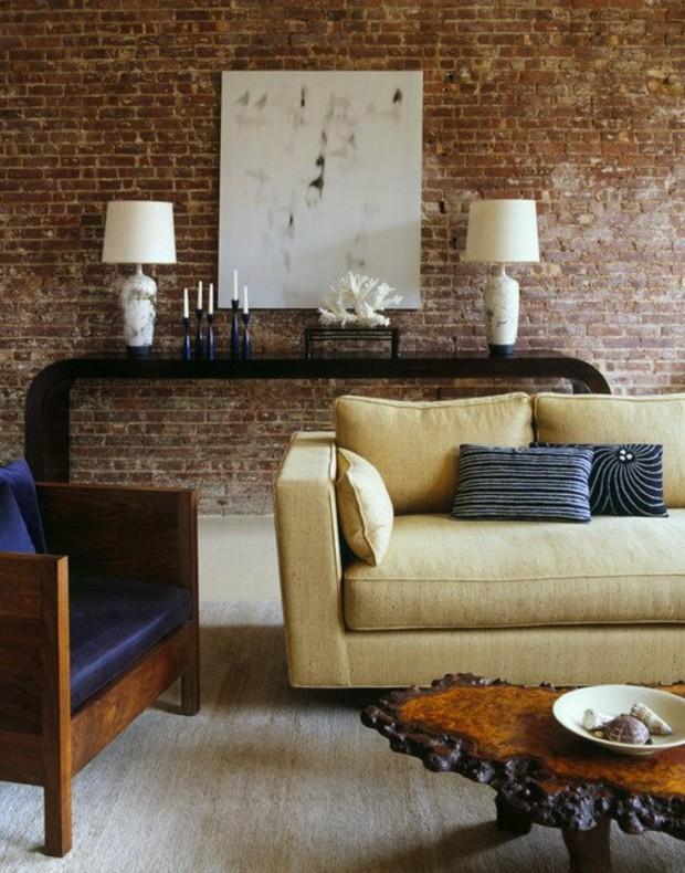 idee decoration salon briques