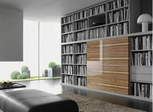 meuble bibliothèque minimaliste élégant