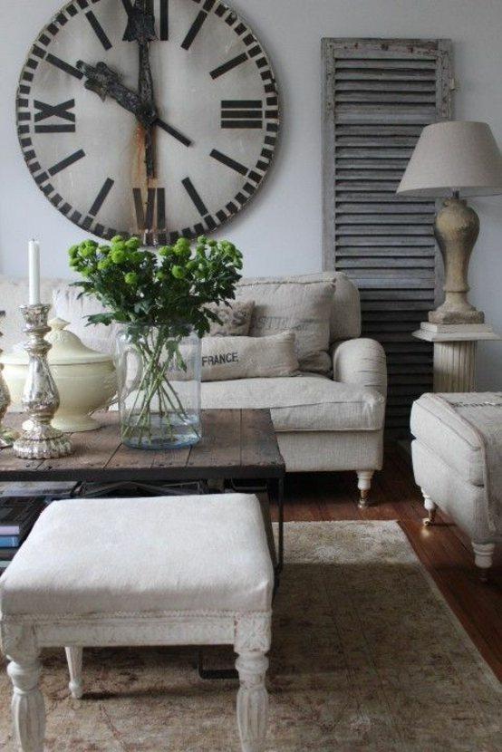 aménagement salon canapé beige table en bois style rustique déco printemps lampe