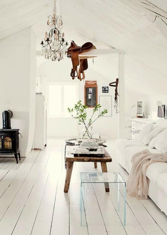 salon intérieur moderne canapé blanc table basse en bois déco florale lampe suspendue