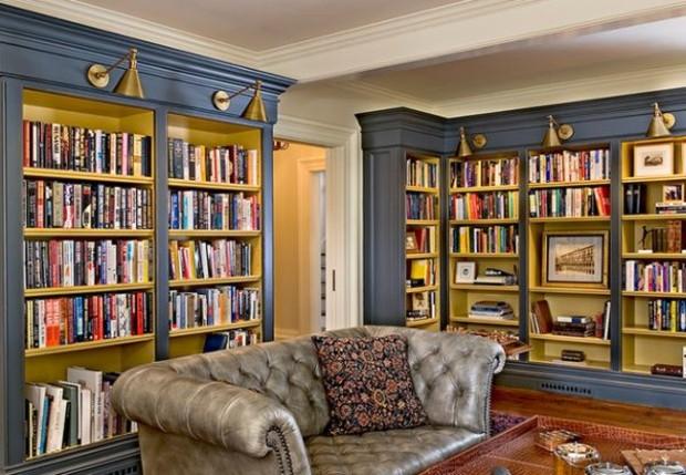 salon rétro avec des meubles bibliothèque style baroque