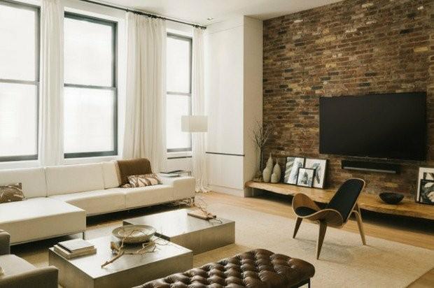 salon style industriel briques