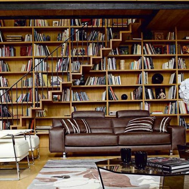 superbe meuble bibliothèque avec escalier bois