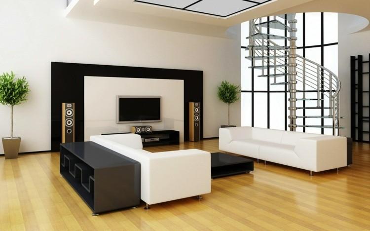 amenagement salon elegant sol bois