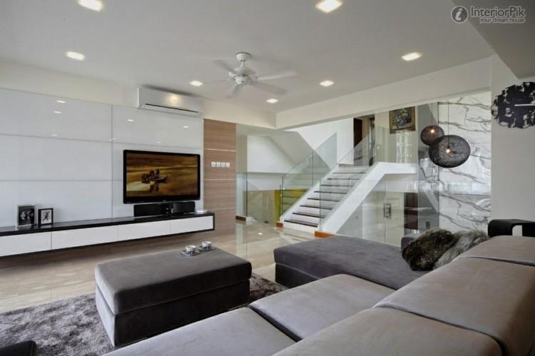 amenagement salon moderne meubles laques