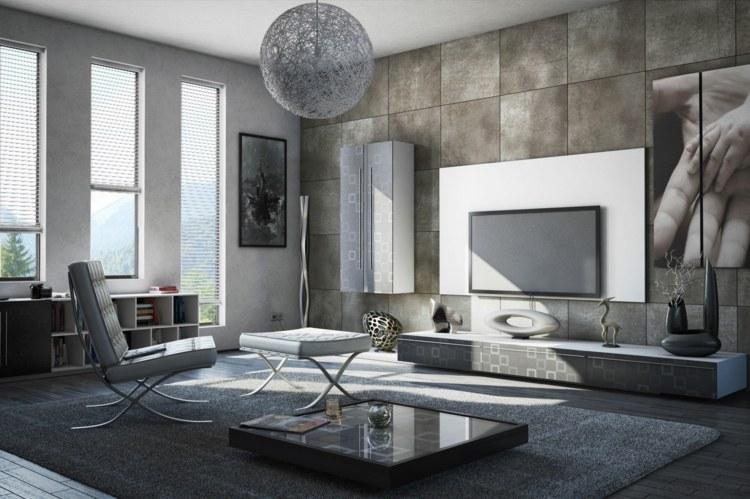 décoration intérieur salon moderne nuances grises