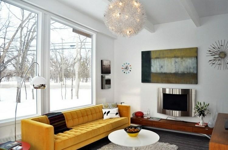 décoration salon design canape jaune