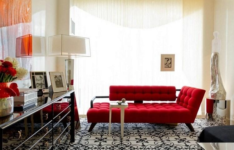 décoration salon design canape rouge