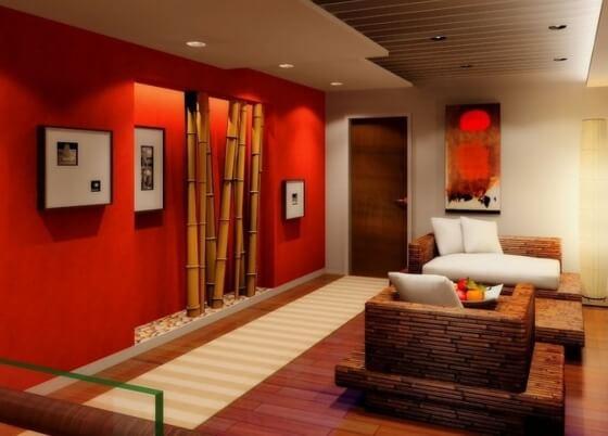 deco elegante salon moderne batonets bambou