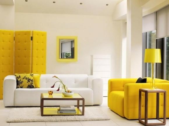 deco originale salon blanc jaune
