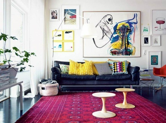 deco salon moderne couleurs vives
