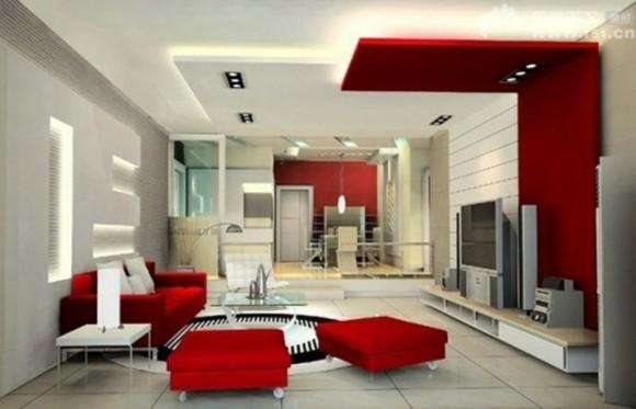 deco salon moderne rouge blanc