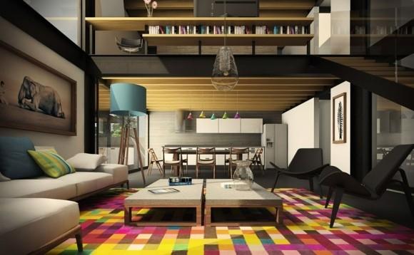 deco salon tapis multicolore