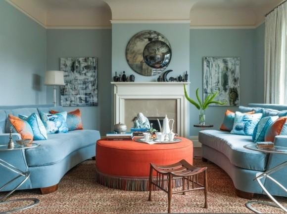 decor salon bleu orange