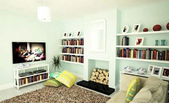 decor salon bleu pale