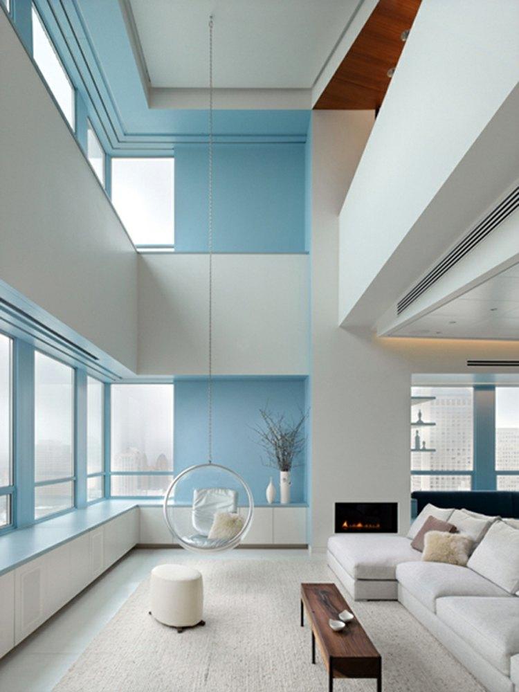decor salon minimaliste blanc bleu