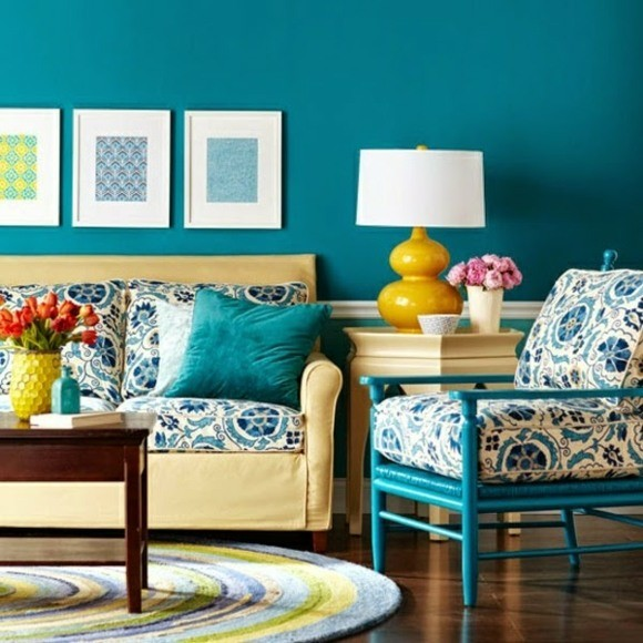 decoration salon bleu blanc