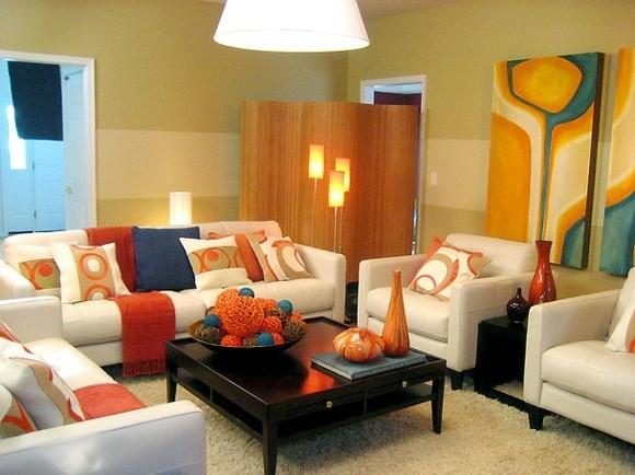 decoration salon couleurs chaleureuses