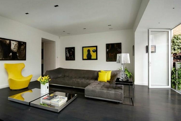 décoration salon gris jaune